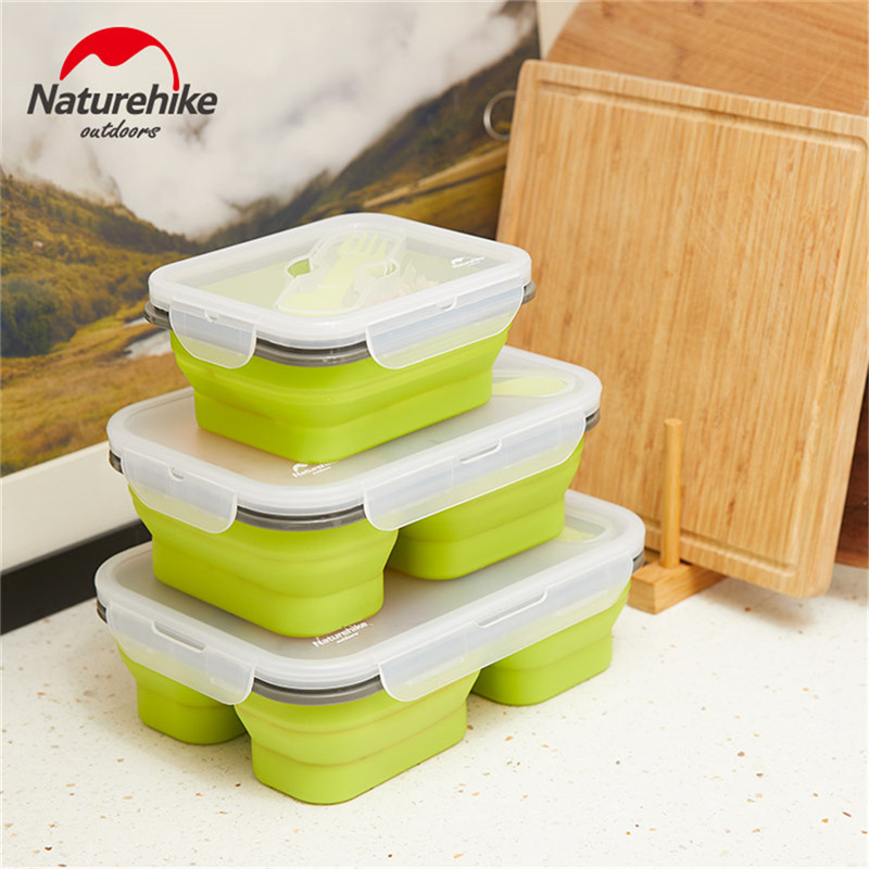 Image 5 - 1 3 Grid Folding Silicone Lunch Dinner Box Bento Travel Bowl Picnic Food Container Lunchbox for Outdoor Tableware 600 1300ML-in Outdoor Tablewares from Sports & Entertainment