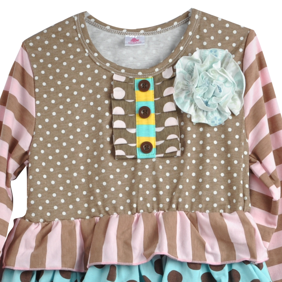 Fashion Style Blomma Tunika Polka Dots Ruffle Småbarn Flickor Remake - Barnkläder - Foto 4