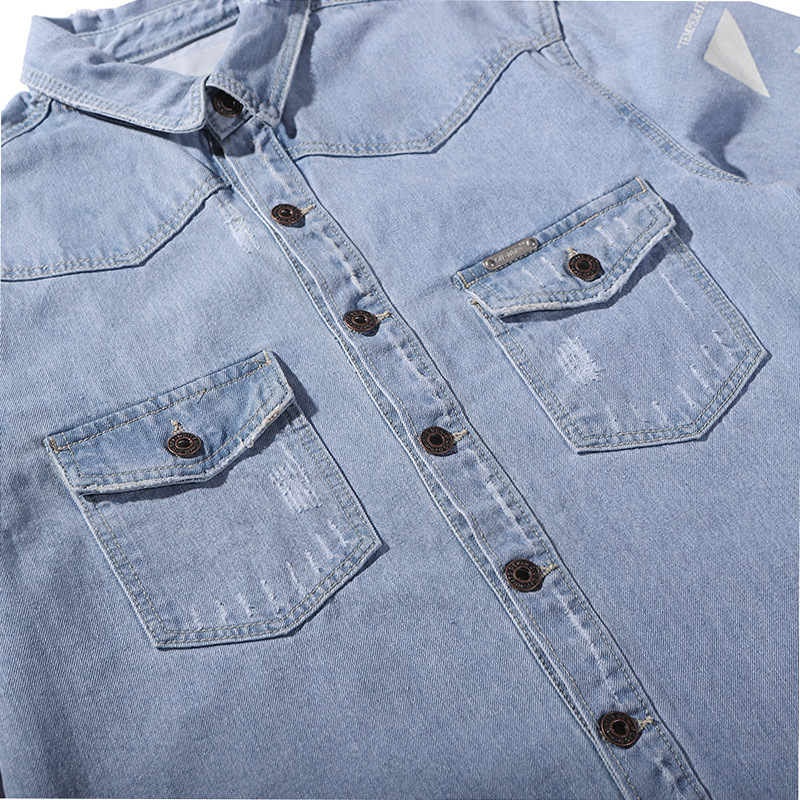 2019 Spring Men Denim Shirts Long Sleeve Loose  Summer Thin Streetwear Men Shirts