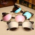 2017 cat eye sunglasses mulheres designer de marca de luxo do vintage rodada Espelho Óculos de Sol Para As Mulheres do sexo feminino Moda Retro Gafas de Sol