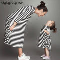 Mother Daughter Dresses 2017 Family Matching Striped Dress Family Clothing Mother And Daughter Dress FA06