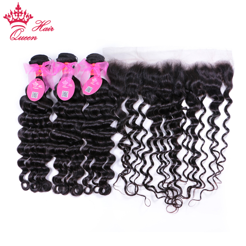 Queen Hair Lace Frontal Closure With Bundles Brazilian Natural Wave More Wave Human Hair Bundles With