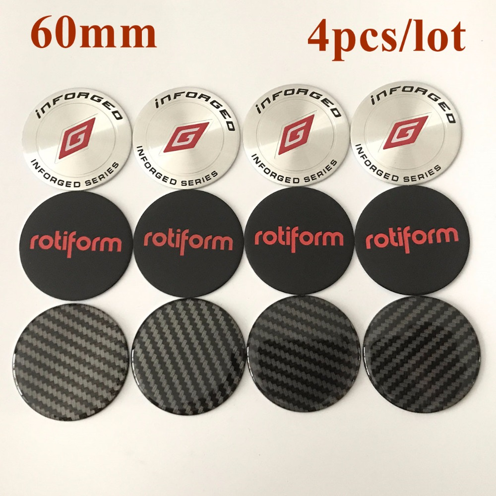 KOM POWER 4PCS 60MM Emblem Rotiform Wheel Center Cap Sticker No LOGO Sticker Inforged Badge Wheel Cover Stickes Plane Surface