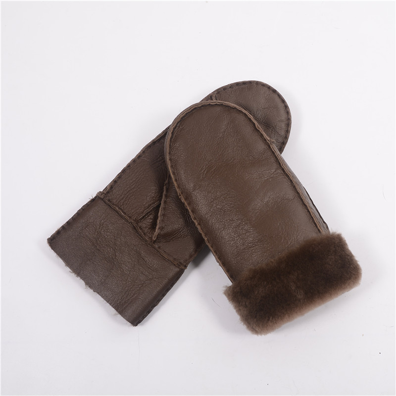 Special Winter Fashion Heavy Type Women Real Leather Wool Fur Gloves Lovely Female Sheepskin Leather Fur Gloves