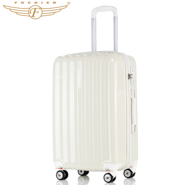 """20"""" 24"""" 28"""" Inches Ivory White ABS+PC Travel Business Trolley Luggage Suitcase Solid Pattern Rolling Luggage 2016 Fochier"""
