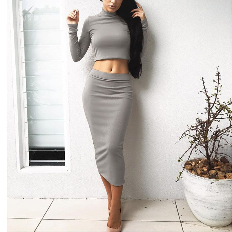 Autumn Winter Fashion Sexy Fleece Dress Two-piece Women Long-sleeved Turtleneck Cropped Tops With Sexy Tight Dress Vestidos
