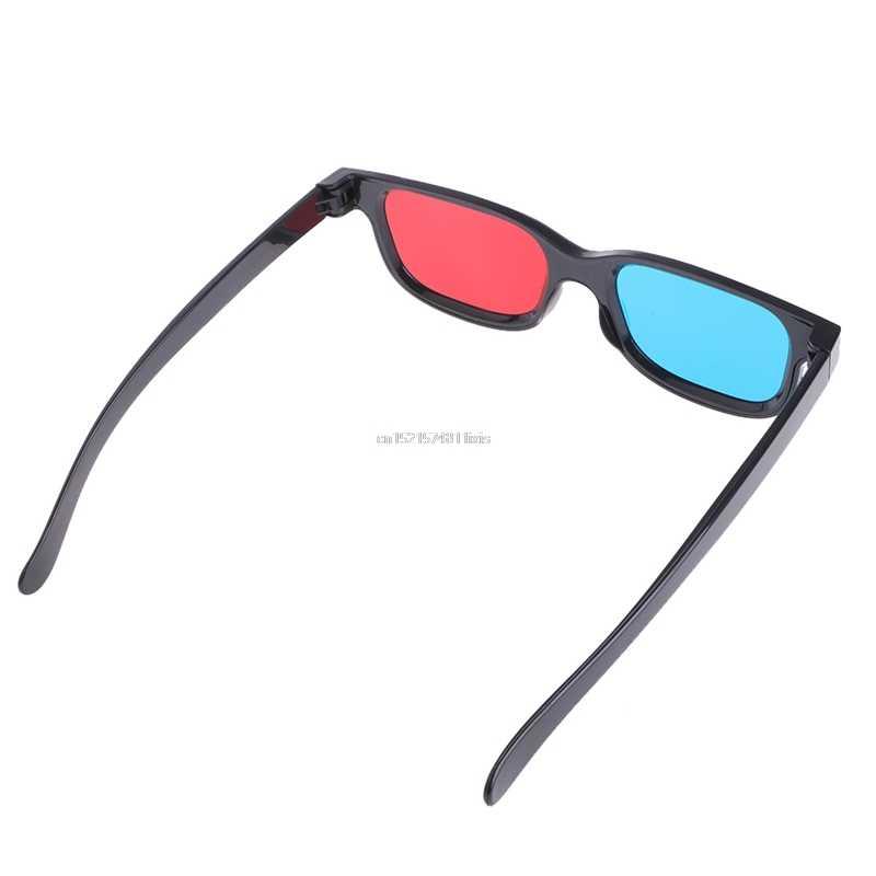 Baru Universal Hitam Frame Merah Biru Cyan Anaglyph 3D Kacamata 0.2 Mm untuk Permainan Film DVD