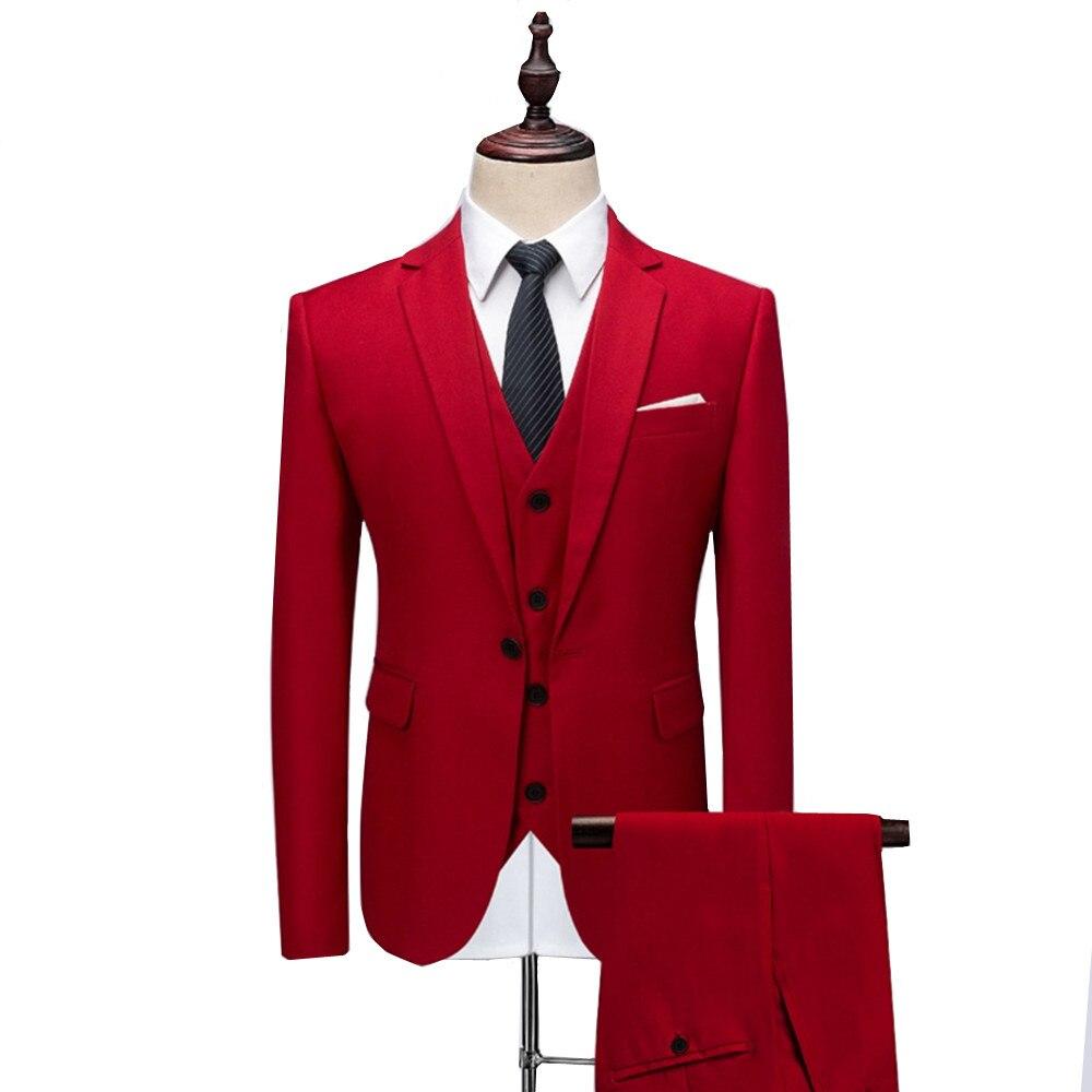 (Jacket+Vest+Pants) New men's suit 2018 Wedding Groom dress suit Tuxedos business casual Solid Color 3 Pieces set Large size 6XL