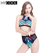 HYCOOL Brazilian Bikini Set Women Swimsuit 2017 Bathing Suit Sexy Print Swim Suit Women Swimwear Biquini Sport High Neck 6085