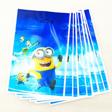 10pcs/lot Minions Gift Bag Party Decoration Plastic Candy Loot For Kids Birthday/Festival Baby Shower Supplies Favors