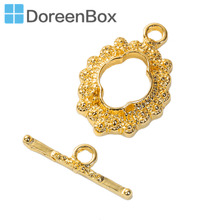 Doreen Box Zinc Based Alloy Toggle Clasps Flower Pattern DIY Component Two Colors 23mm x16mm, 21mm x 6mm, 2 Sets