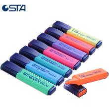 8pcs sta candy shape highlighters markers fluorescent glass painting pen invisible ink for copy fax office
