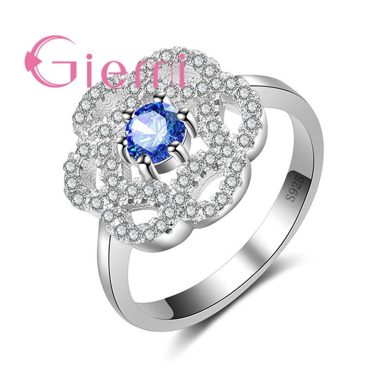 GIEMI Women Ladies Big Flower Shape Design Colorful Cubic Zirconia Finger Rings New Arrival 925 Sterling Silver Crystal Gift