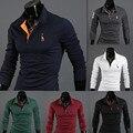 2016 high quality 6 colors men fashion casual long sleeve polo shirts spring autumn men boss polo shirts tops tee