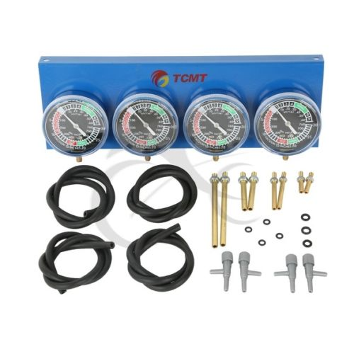 Motorcycle Universal Gauge 4 Carb Carburetor Synchronizer Set kit Vacuum Hoses Extensions 4 GL 1100 1200