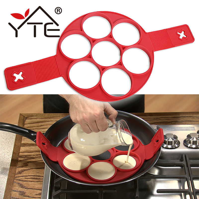 YTE Pancake Maker Nonstick Cooking Tool Egg Ring Maker Pancakes Cheese Egg Cooker Pan Flip Eggs Mold Kitchen Baking Flip Cooker