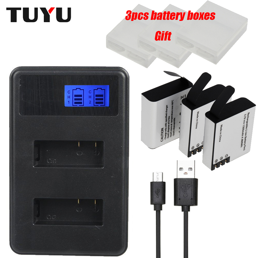 TUYU 1350mAh Rechargeable Action Camera Battery with LCD Dual Battery Charger for Eken H9 H8R H6S H5S+ SJ4000 SJ5000 M10