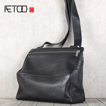 AETOO Men's cowhide single shoulder oblique cross bag head layer cowhide casual leather bag цена в Москве и Питере