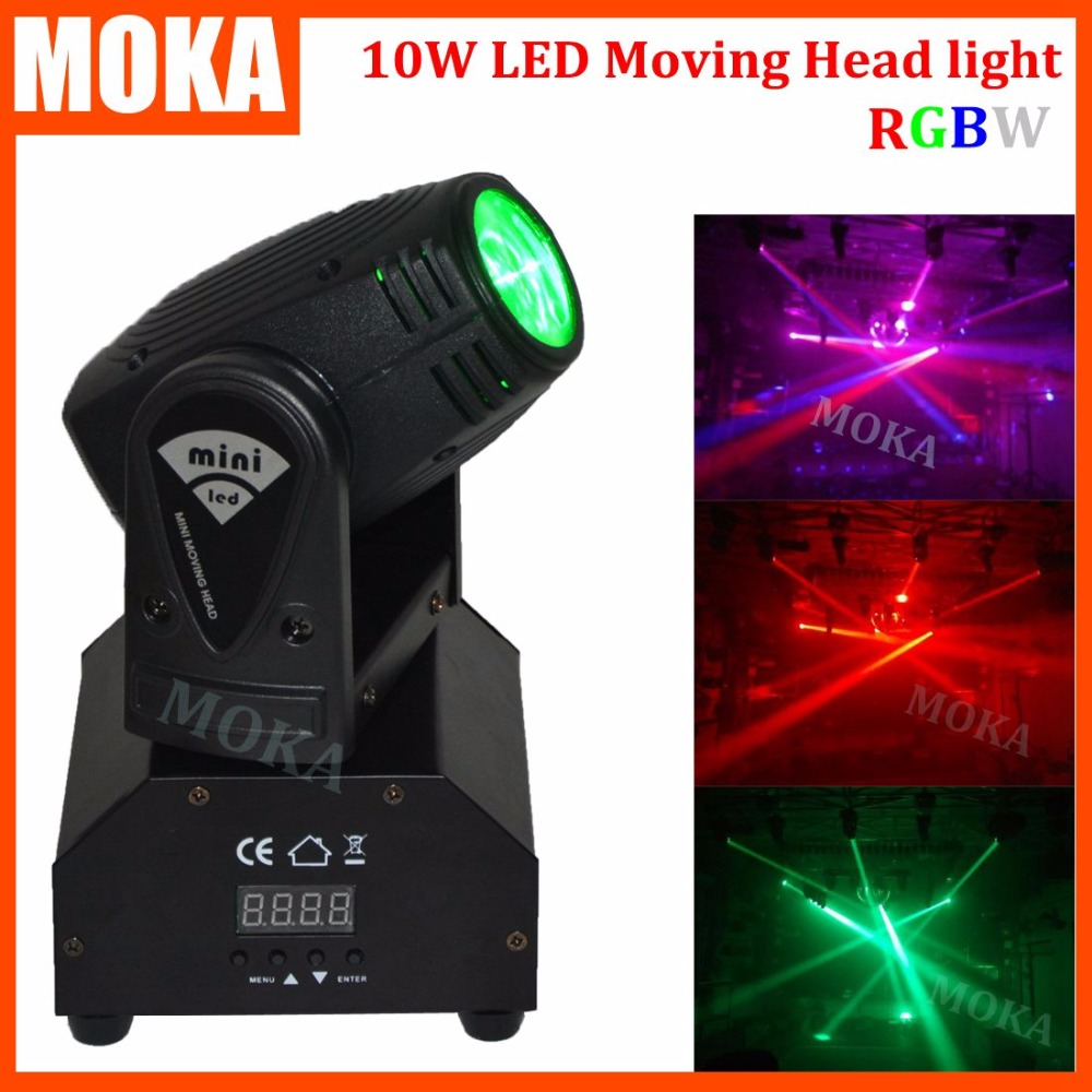 Moka Mini 10W Cree Led Moving Head Stage Light DMX Small 4 in 1 RGBW Dj 10W Light for Show Bar Event 4piece lot 3x3 led matrix moving head light matrix rgbw 4in1 9x10w led cree led stage lights