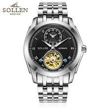 2016 Top Marca de Lujo Reloj Automático de Los Hombres de Negocios Hombres Relojes de Mesa Luminosa Banda de Acero cristal de zafiro reloj de Los Hombres