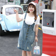 5716ef63e56921 Hem Distressed Denim Overall Dress 2018 Summer Straps Sleeveless Ripped  Clothing Women Plus Size Casual Denim Dress V1001