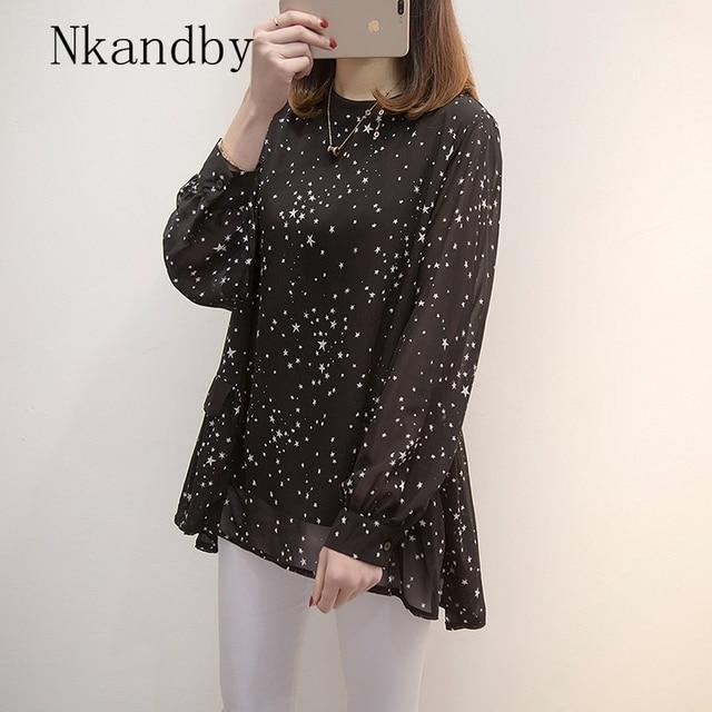 Plus size Women Tops and Blouses 2020 Spring Autumn Star Printing Chiffon Shirts oversize Loose Long sleeve Blusas Femininas 2