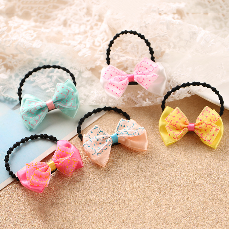 2017 New Boutique Grosgrain Ribbon Girl Bow Elastic Hair Tie Rope Hair Band Bows Lace Hair Accessories 10pcs sweet diy boutique bow headbands elastic head band children girl hair accessories headwear wholesale