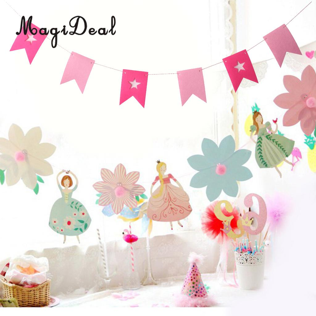 Pink Baby Girl Bunting Garland Pennant Banner Baby Shower Hanging Decor