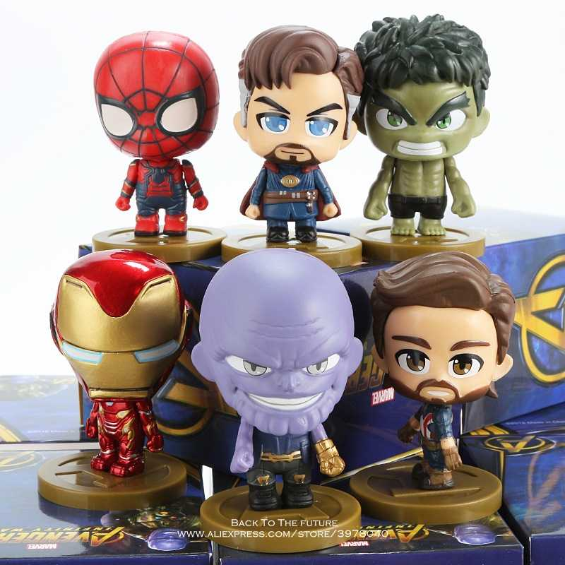 Disney Marvel Avengers Iron Man Hulk Thanos Doctor Strange 6 style Q Version Action Figure Anime Collection Figurine Toy model