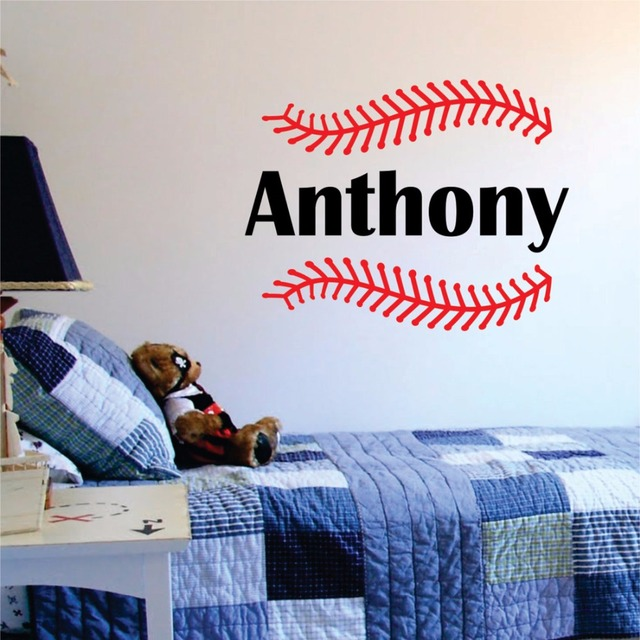 Custom Name And Baseball Sches Wall Sticker Vinyl Art Sports Decals Nursery Decor Vinilos Paredes