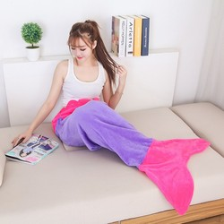 Flannel Fleece Mermaid Blanket Solid For Bed Throw Plush Bed Spread Knitted Children Adult Bed Mermaid Tail Blankets
