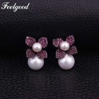 Feelgood Luxury Jewelry White Imitation Pearl Stud Earring Fashion Cubic Zirconia Earrings For Women And Girl