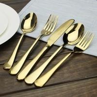 Besteck Gold AOOSY Einfache geschirr Moderne 5-teiliges Vergoldet Edelstahl Menuemesser Gabel Spiegel Polieren 1 satz