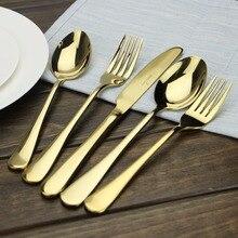 Aoosy besteck set einfache moderne 5-teiliges vergoldet edelstahl besteck abendessen löffel messer gabel spiegel polieren 1 satz