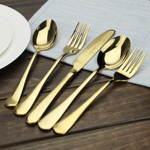 Cutlery Gold AOOSY Simple tableware Modern 5-piece Gold Plated Stainless Steel Dinner Knife Fork & Cutlery Gold AOOSY Simple tableware Modern 5 piece Gold Plated ...