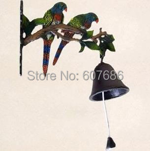 Europe and America Country Village Rustic Cast Iron Hanging Parrot Welcome Bell Dinner Bells Wall Mounted,  Metal/ Iron Craft