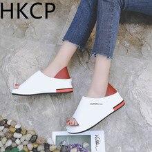 HKCP Fashion Large size sandals 2019 new summer thick bottom white shoes sponge cake Korean flat C210