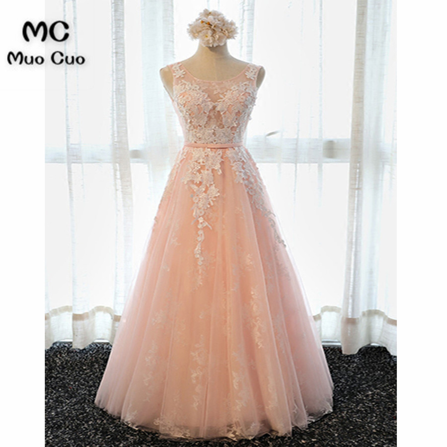2018 Blush Pink Evening Dresses Long For Women Tulle Scoop