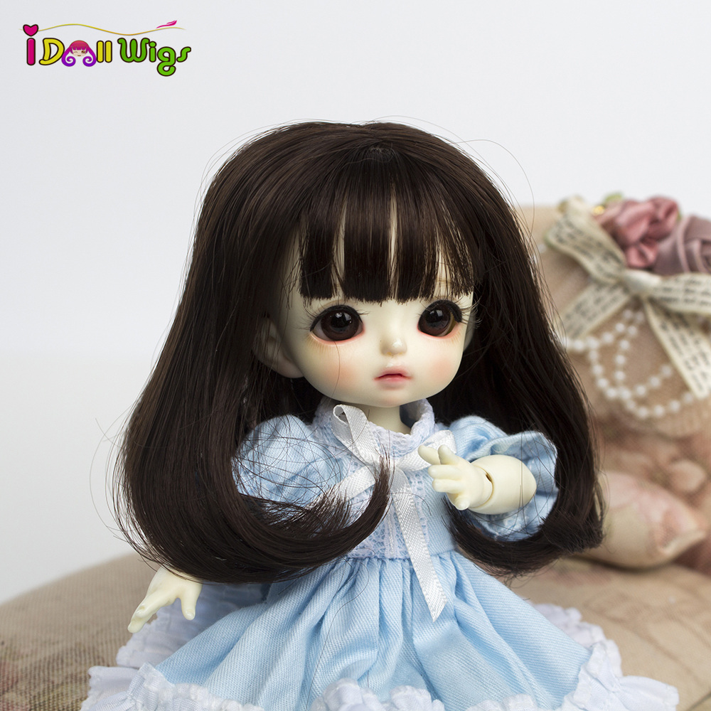 New Arrive!!Soft Wire Wig  Dark 10cm Long Wigs With Pear Curly Available For 1/8 Doll  BJD SD DD MDD Doll Accessories For Dolls