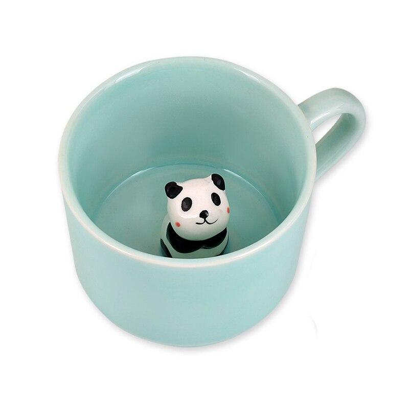 UPORS 8oz 3D Panda Ceramic Mug Creative Mini Ceramic Coffee Mug with Cute Panda Inside Heat Resistant Coffee Cup Birthday Gifts