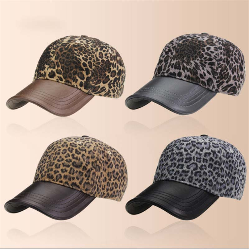 b0ab4d11 ... New High Quality Women's Winter Hats Leopard print Baseball Cap Outside  Fashion Accessories Casquette Gorras Snapback ...