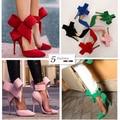 2015 más el tamaño 4-10 mujeres grandes Bow Tie bombas 2015 mariposa Zapatos del estilete puntiagudo mujer tacones altos Zapatos de la boda Zapatos