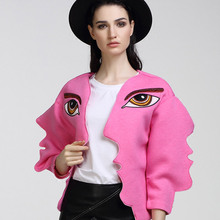 BringBring 2017 Spring and Summer Fashion Street Style Face Pink Jacket Women Eyes Embroidery Jackets Open Stitch 1734
