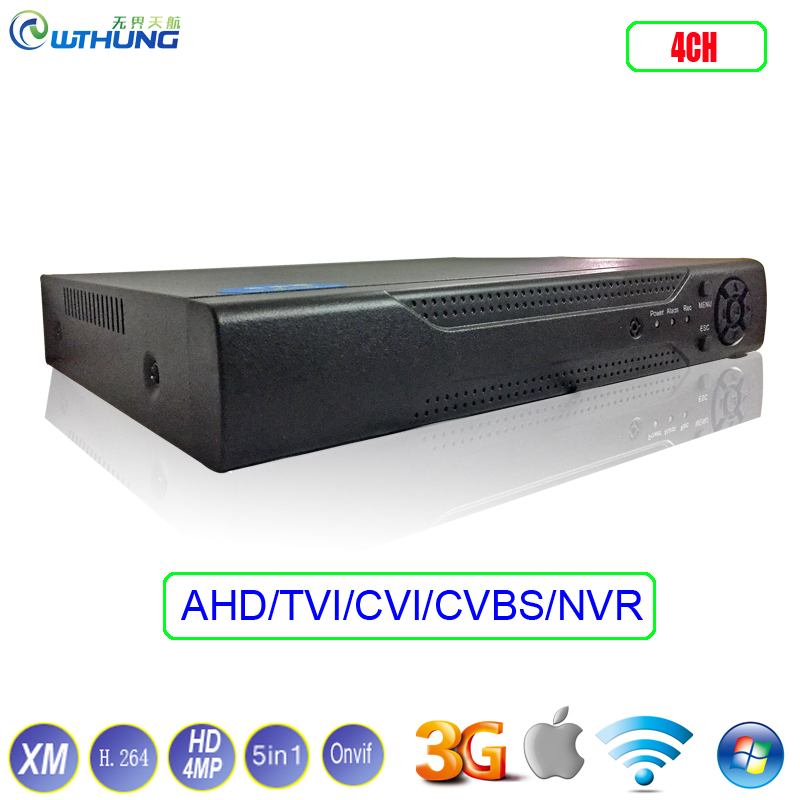 Hybrid TVI CVI IP NVR AHD DVR XMeye Hi3521A 1*SATA 4 Channel 4CH HD 4MP 5-in-1 Coaxial support P2P onvif For Security Camera