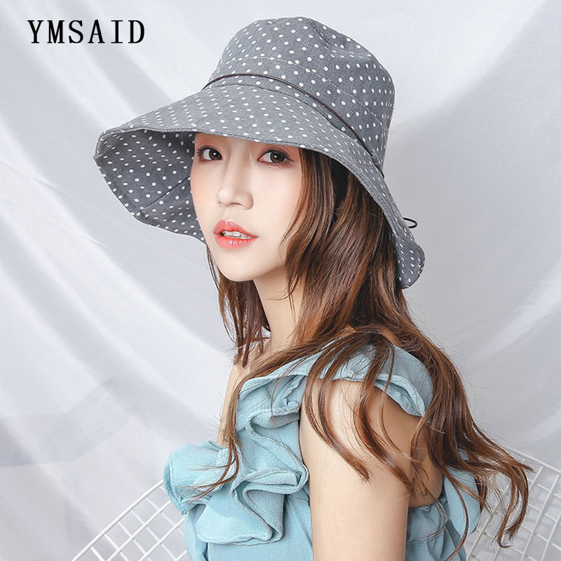 YmsaidHigh Quality Lady Wide Brim Sun Hat Summer Women Folded Dot Printing Fisherman's Hat Beach Hat Anti-UV Cloth Sunscreen Cap