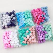 TYRY.HU 100pc Silikon Perlen Runde 15mm Neugeborenen Zahnen Beißring Zubehör Schnuller Clips Zahnen Halskette Perlen Lebensmittel Silizium