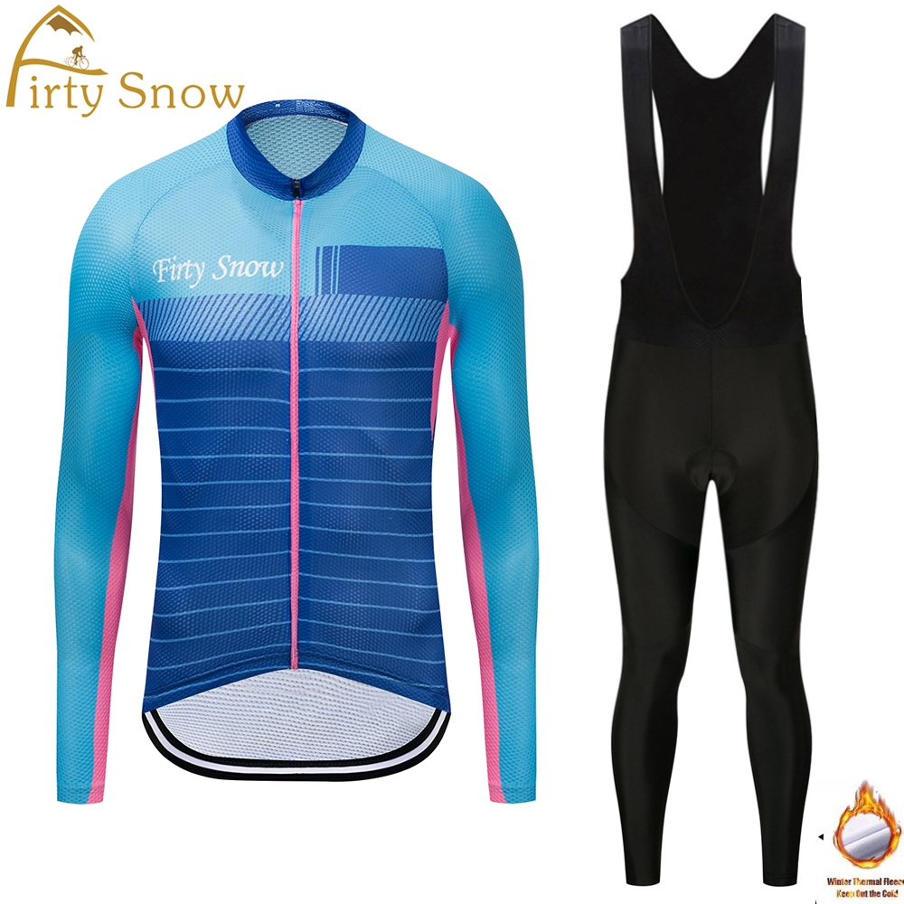 Firty Snow Long Sleeve Winter Thermal Fleece Cycling Jersey Warm Winter Bike Cycling Clothing Bicycle Bib Pants Set 2018