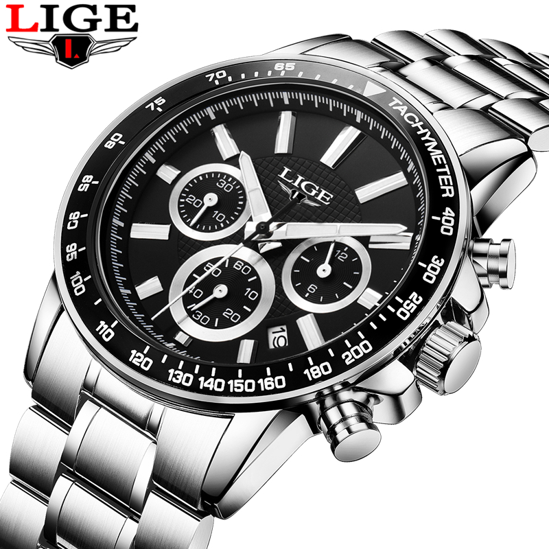 LIGE Brand Luxury mens quartz-watch stainless steel Waterproof watches Men Multi-function Sport Wristwatches Relogio MasculinoLIGE Brand Luxury mens quartz-watch stainless steel Waterproof watches Men Multi-function Sport Wristwatches Relogio Masculino