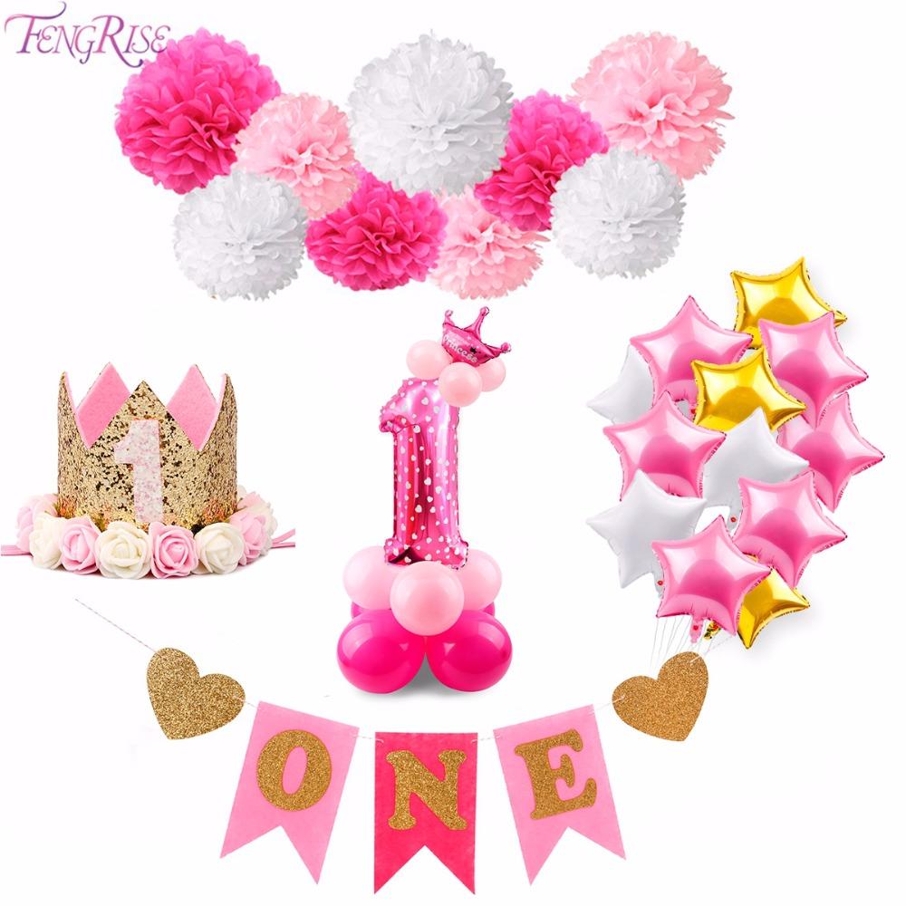 Fengrise Birthday Decoration Girl Pink Unicorn Balloons Baby First Birthday Party Decor Hot Pink