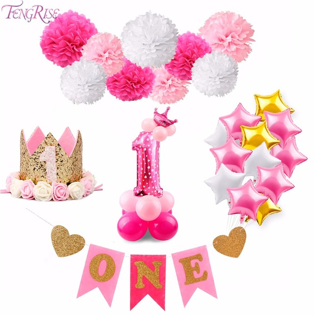 FENGRISE Birthday Decoration Girl Pink Unicorn Balloons Baby First